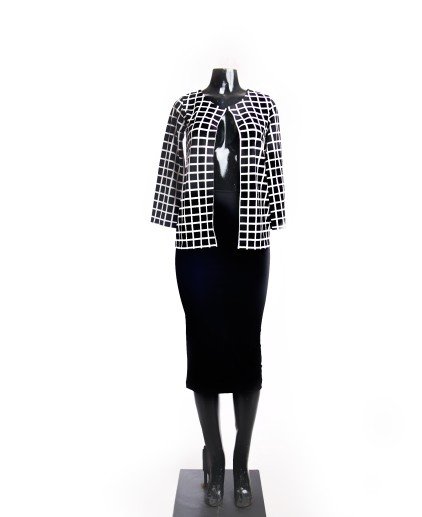 Collarless Jacket with one hook and eye closure