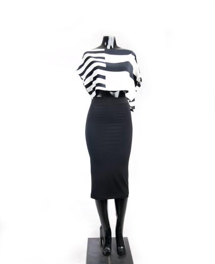 Black and White deep Hem Crop Top/ Black Midi Skirt